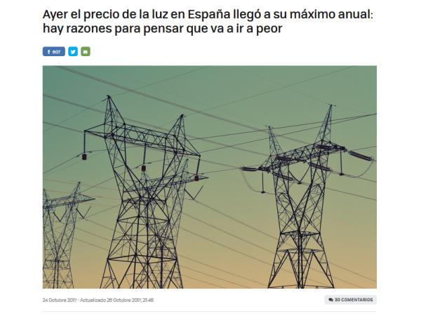 Xataka – Ayer el precio de la luz en España llegó a su máximo anual: hay razones para pensar que va a ir a peor - Ingebau