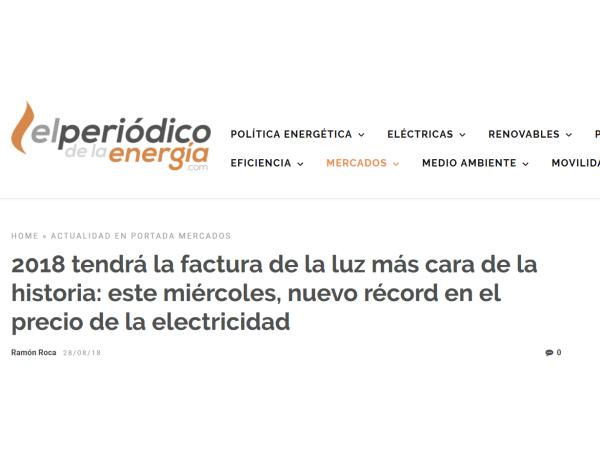 El Periódico de la Energía – 2018 tendrá la factura de la luz más cara de la historia: este miércoles, nuevo récord en el precio de la electricidad - Ingebau
