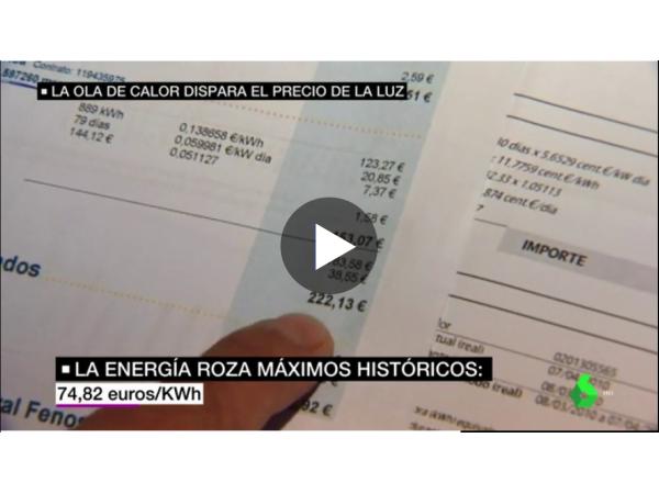 LA SEXTA TV –  La ola de calor dispara el precio de la luz: se acerca a máximos históricos y los expertos auguran nuevas subidas - Ingebau
