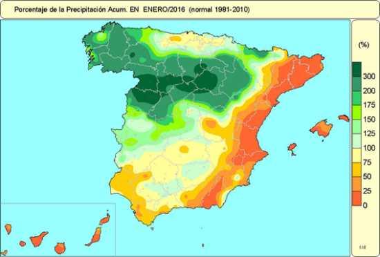Grafica 2 Precipitaciones Peníonsula Enero-16