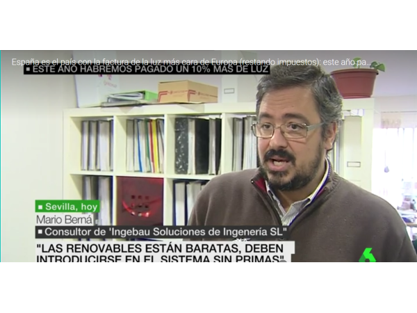 LA SEXTA TV – España es el país con la factura de la luz más cara de Europa - Ingebau