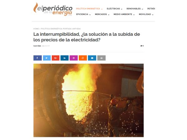 El Periódico de la Energía – La interrumpibilidad, ¿la solución a la subida de los precios de la electricidad? - Ingebau